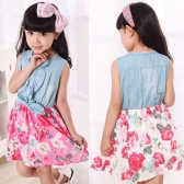 Fashion Kids Girls Dress Jean Denim Sleeveless Top Bow Flower Ruffled Cute Princess Sundress Red/White