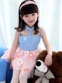 Fashion Children Girls Dress Button Mesh Sleeveless Denim Top Tie Waist Embroidery Flower Layered Tulle Skirt Princess Tutu Dress Pink/White
