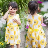 Cute Girls Dress Sunflower Floral Print Crew Neck Sleeveless Casual Tank Dress Kids Children Sundress Yellow