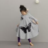 Cute Fashion Baby Girls Princess Dress Butterfly Print Round Neck Long Sleeve Kids Flared Dress Grey/Pink