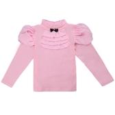 Fashion Kids Girl Cotton T-Shirt Bowknot Turtleneck Neck Ruffle Chiffon Long Sleeve Button Casual Tee Top