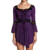 Stylish Boho Style Lace-up Square Collar 3/4 Flare Sleeve Lace Women Blouse