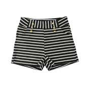 Women Shorts Summer Striped Shorts High Elastic Waist Ladies Casual Pants Black