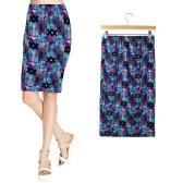 New Fashion Women Midi Skirt Floral Print Elastic Waistband Elegant Vintage Casual Bodycon Sheath Skirt
