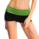 New Fashion Women Sport Shorts Contrast Color Splicing Elastic Waist Yoga Fitness Running Gym Shorts
