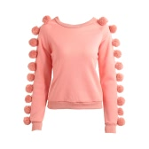 Women Pom Poms Sleeves Hoodie Sweatershirt Fleece O Neck Long Raglan Warm Jumper Sweater Pullover Outwear Pink