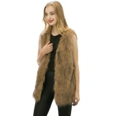 Women Fluffy Faux Fur Vest Coat Pockets V-Neck Sleeveless Furry Waistcoat Long Outerwear Jacket Yellow