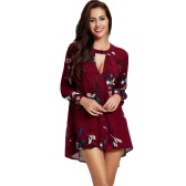 New Fashion Women Blouse Floral Print Hollow Out Round Neck Long Sleeve Loose Top Red