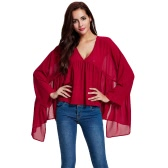 New Women Chiffon Blouse Ruched Irregular Hem Deep V-Neck Butterfly Sleeves Loose Elegant Pullover Top Red