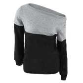 New Women Off Shoulder Knitwear Long Sleeve Loose Casual Pullover Sweater Jumper Top Black/Burgundy/Khaki