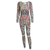 Hot Sexy Women Sheer Mesh Jumpsuit Colorful Tattoo Print See-Through Backless Strap Back Elastic Bodysuit Red