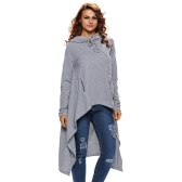 New Fashion Women Hoodie Solid Drawstring Irregular Oversize Long Sleeve Casual Sweatshirt Grey