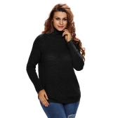New Fashion Women Sweater Solid High Neck Side Zipper Long Raglan Sleeve Casual Pullover Black/Coffee