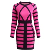 Sexy Women Mini Bodycon Dress Color Block Stripe O Neck Long Sleeves Clubwear Party Evening Dress Rose/Yellow
