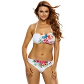 New Sexy Women Strapless Floral Bikini Set Halter Strap Tie Back Low Waist Two-Piece Swimsuit Bathing Suit Swimwear White