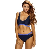 Sexy Women Bikini Set Splice Color Backless Wireless Bandage Two Piece Bathing Suit Swimwear Swimsuits Blue