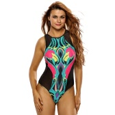Sexy Women One Piece Bikini Cartoon Flamingo Print Wireless Padded Zipper Swimwear Swimsuits Monokini Black
