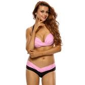 Women Bikini Set Contrast Splicing Backless Halterneck Padded Two-Piece Swimwear Swimsuit Beachwear Pink