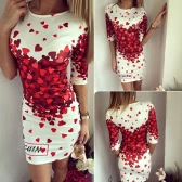 New Sexy Women Bodycon Dress Red Heart Print Half Sleeve Party Club Sheath Mini Dress White