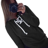 Casual Lace Up Round Neck Long Sleeve Loose Fit Pullover Sweatshirt for Women