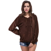 New Fashion Women Velvet Hooded Sweatshirt Drawstring Front Pocket Long sleeves Pullover Top Coffee
