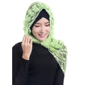 Fashion Women Lace Muslim Hijab Islamic Outside the Phi Cap Flower Beads Turban Headscarf
