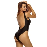 Women One Piece Swimsuit Sheer Mesh Splicing Backless High Cut Bikini Swimwear Beachwear Black/White