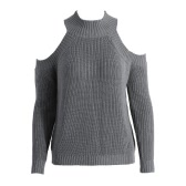 FashionTurtle Neck Cold Shoulder Vertical Stripe Knitting Warm Sweater for Women