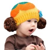 Cute Winter Kids Girls Kintted Candy Color Block Babies Warm Hat Beanie Cap
