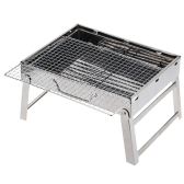 Foldable Stainless Steel Picnic Camping BBQ Grill Portable Garden Charcoal Grill Broiler Outdoor Cooking Tool 15.35 * 10.63 * 7.28in
