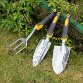 3pcs Aluminum Garden Tool Set Transplanter + Trowel + Rake for Lawn Gardening Hand Tools Yard Gadgets with Ergonomic Handles