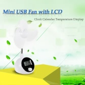 Portable White Mini USB Fan with LCD Clock Calendar Temperature Display