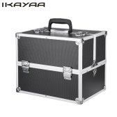 iKayaa Professional Aluminum Makeup Train Case Organizer Locking Portable Cosmetic Box Storage Bag With Strap & 4 Extendable Trays