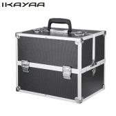iKayaa Professional Aluminum Makeup Train Case Organizer Locking Portable Cosmetic Box Storage Bag With Strap & 4 Extendable Trays