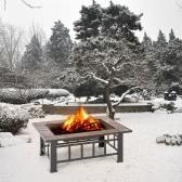 IKAYAA High-quality Metal Garden Backyard Fire Pit Patio Rectangular Firepit Stove Brazier Outdoor Fireplace W/ Firepit Cover & Poker