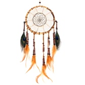 "Traditional Indian Style Handmade Bamboo Dream Catcher Real Flax Peacock Feather Home Wall Decoration Ornament 7.09""Diameter 24.8""Long"