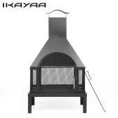 iKayaa Large Garden Outdoor Fire Pit Chimenea Metal Backyard Heater Fireplace Patio Chimney Wood Burner 600℃ Heat-resistant With Poker