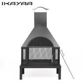 iKayaa Large Garden Outdoor Fire Pit Chimenea Metal Backyard Heater Fireplace Patio Chimney Wood Burner 600℃ Heat-resistant With Poker