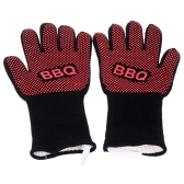 Excellent Heat-resistant BBQ Oven Gloves Washable Non-slip Oven Mitts Gloves Heat Pot Holder for Cooking Baking Grilling