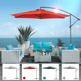IKAYAA 3M Adjustable Patio Garden Hanging Umbrella with Crank Cross Base Wind Vent Sun Shade Outdoor Cafe Beach Steel Parasol 6 Steel Rib