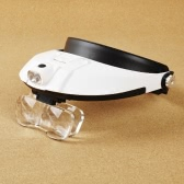 2LED Head-Mounted Illuminating Magnifier Loupe Head Wearing 11 Magnifications