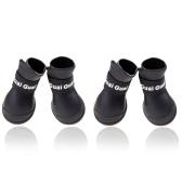 Pet Dog Shoes Boots Candy Colors Waterproof Rubber Rain Shoes Black