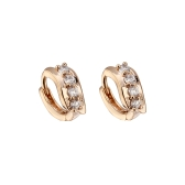 1Pair Clear Crystal Zircon 18K Gold Plated Wave Leaf Ear Earring Jewelry Gift for Women Lady