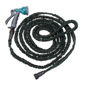 50FT Anself Expandable Ultralight Garden Hose Fittings Set Flexible Water Pipe + Faucet Connector + Fast Connector + Valve + Multi-functional Spray Nozzle Black and Green