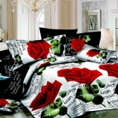 4pcs 3D Printed Bedding Set Bedclothes Red Rose in Full Bloom Queen/King Size Duvet Cover+Bed Sheet+2 Pillowcases