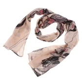 Khaki Begonia Flower Ink Style Long Cotton Neck Scarf Shawl