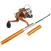 Mini Aluminum Pocket Pen Fishing Rod Pole + Reel Golden