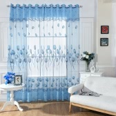 Anself Tulip Flowers Jacquard Burnt-out Half Shading Voile Curtain for Door Window Room Decoration Window Screening Drape Scarf Curtains Bedroom Decor 2PCS
