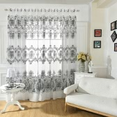Anself Fashion French Window Jacquard Burnt-out Half Shading Voile Curtain for Door Window Room Decoration Window Screening Drape Scarf Curtains Bedroom Decor 2PCS