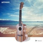 """ammoon 24"""" Acoustic Wooden Soprano Ukulele Ukelele Uke 18 Frets 4 Strings Okoume Neck Rosewood Fingerboard String Instrument Musical Gift"""